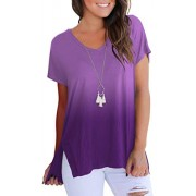onlypuff New Tunics for Women Short Sleeve T Shirts Comfy Flowy Tops Casual Blouse Batwing Purple XL - Shirts - $12.99