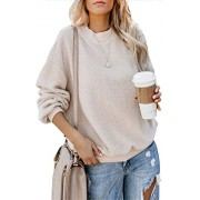 onlypuff Pullover Sweatshirts for Women Long Sleeve Crew Neck Warm Up Fleece Sherpa - Shirts - $23.99