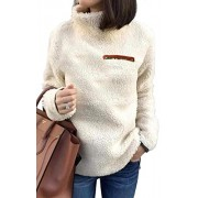 onlypuff Sherpa Pullover Sweaters for Women Winter Warm Tunic Tops Sweatshirts - Shirts - $14.99