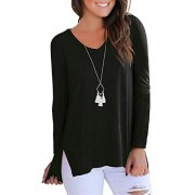 onlypuff Women's High Low Sweatshirts Long Sleeve Side Split Casual Tops - Shirts - $13.99
