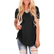 onlypuff Womens Tops V Neck Short Sleeve Tunic Casual T Shirts Loose Blouse - Shirts - $12.99