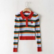polo collar rainbow striped sweater autumn cute embroidery long sleeve sweater - Shirts - $28.99
