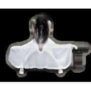 Girl in white dress sitting - Persone -