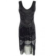 whoinshop Women Vintage Sequin Art Nouveau Deco High Low Fringe 1920s Style Flapper Dress - Dresses - $38.00