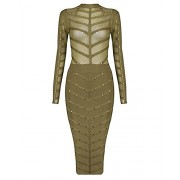 whoinshop Women's Long Sleeve Studded Party Bandage Dress with Sheer Mesh - Dresses - $69.00