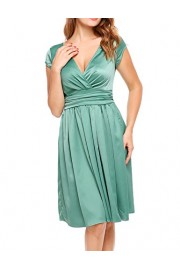 ACEVOG Women Deep V-Neck Empire Waist Satin Cap Sleeve Short Bridesmaids Cocktail Party Dress - My look - $1.99
