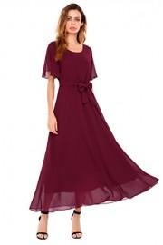 ACEVOG Women Flowy Chiffon Maxi Dress Solid Slimming Evening Cocktail Party Dress - My look - $14.99