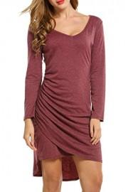 ACEVOG Women V-Neck Long Sleeve Faux Wrap Asymmetrical Bodycon Wrap Dress - My look - $9.99