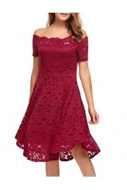 ACEVOG Women Vintage Lace Short Sleeve Floral Off Shoulder Cocktail Formal Swing Dress - My look - $14.99