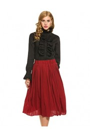 ACEVOG Women Vintage Stand Collar Ruffle Shirts Long Sleeve Solid Blouses Tops - My look - $18.99