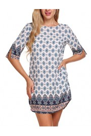 ACEVOG Women's Bohemian Vintage Printed Ethnic Style Back Cut-Out Casual Tunic Dress - My look - $9.90