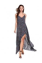 ACEVOG Women's Button up Split Floral Maxi Dress Print Flowy Blackless Strap Sundress - My look - $18.99