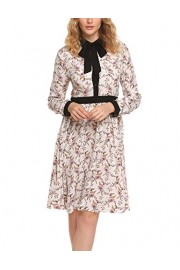 ACEVOG Women's Casual Floral Print Long Sleeve Fit and Flare Swing Dress with Belt - My look - $12.99
