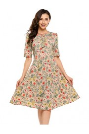 ACEVOG Women's Casual Short Sleeve Floral Printed Fit and Flare Party Dress - My look - $39.99