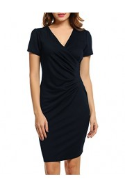 ACEVOG Women's Casual Short Sleeve V-Neck Wrap Party Cocktail Work Dress - My look - $15.99