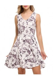 ACEVOG Womens Casual V Neck Sleeveless Fit and Flare Floral Swing Party Cocktail Dress - My look - $9.99