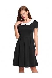 ACEVOG Women's Classy Vintage Audrey Hepburn Style Doll Collar 1940's Rockabilly A Line Dress - My look - $9.99