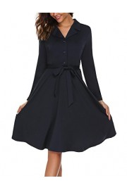 ACEVOG Women's Long Sleeve Button Down A-Line Casual Dress With Belt - My look - $16.99