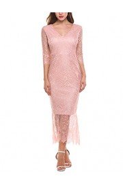 ACEVOG Women's Retro V Neck Floral Lace Mermaid Evening Party Long Dress - My look - $13.99