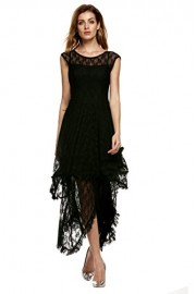 ACEVOG Women's Sexy Sleeveless Floral Lace Tiered Long Irregular Party Dress - My look - $19.99