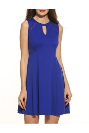 ACEVOG Women's Sleeveless A-line Lace Stitching Evening Party Cocktail Dress - My look - $13.99