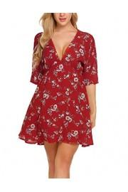 ACEVOG Women's V-Neck Floral Printed Dress Flare Tunic Beach Dress - My look - $15.99