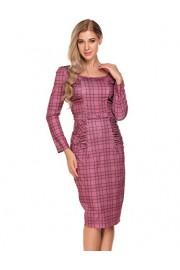 ACEVOG Women's Vintage Long Sleeve Pleated Floral Print Pencil Dress - My look - $26.49