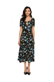 ACEVOG Women's Vintage Retro Short Sleeve 1950'S O-Neck Floral Printed Fit Flare Casual Evening Party Swing Dress Black - My look - $26.99