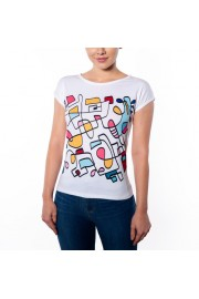Abstract Hand Drawn Colorful Slim Fit T- - Catwalk - $42.00