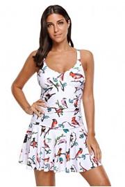 Aleumdr Womens Animal Print V Neck Open Back Ruched Padded Swimdress - Myファッションスナップ - $19.99  ~ ¥1,965