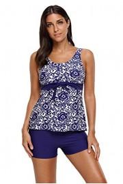 Aleumdr Womens Floral Printed Tank Top Ties Tankini Swimsuit with Swim Shorts - Myファッションスナップ - $19.99  ~ ¥1,965