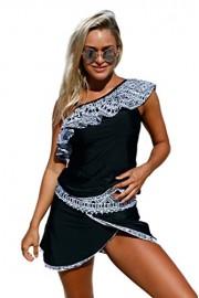 Aleumdr Womens One Ruffle Shoulder Color Block Tankini Top and Swim Skirt Swimsuit - Myファッションスナップ - $19.99  ~ ¥1,965