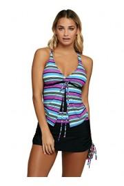 Aleumdr Womens Plunge V Neck Criss Cross Back Ties Striped Tankini Swimsuit with Pantskirt - Myファッションスナップ - $15.99  ~ ¥1,572