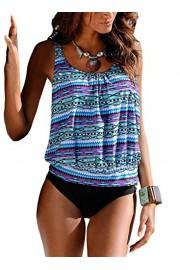 Aleumdr Women's Push up Padded Printed Tankini Top Sets Swimwear - Myファッションスナップ - $13.99  ~ ¥1,375