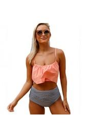 Aleumdr Womens Thin Shoulder Straps Ruched High-Waisted Bikini Swimsuit - Myファッションスナップ - $9.99  ~ ¥982