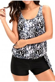 Aleumdr Womens dewdrop Printed Blouson Side Ties Tankini Swimsuits With Swim Shorts S - XXXL Plus Size - Myファッションスナップ - $15.99  ~ ¥1,572