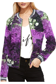 All Over Print Bomber Jacket For Women  - Catwalk - $55.10