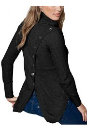 AlvaQ Women Asymmetric Slit Button Back Cowl Neck Pullover Sweater - O meu olhar - $19.99  ~ 17.17€