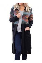 AlvaQ Women Aztec Print Open Front Maxi Long Cardigan with Hood - O meu olhar - $19.99  ~ 17.17€