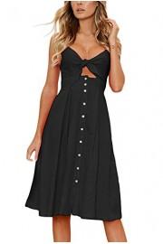 AlvaQ Women Bohemian V-Neck Tie Front Spaghetti Strap Button Backless Swing Midi Summer Dress - O meu olhar - $50.99  ~ 43.79€