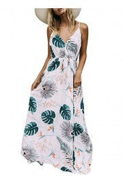 AlvaQ Women Flower Sexy V Neck Beach Casual Maxi Dress (7 Designs) - O meu olhar - $50.99  ~ 43.79€