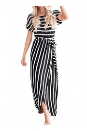 AlvaQ Women Summer Casual Short Sleeve Striped Tie Waist Long Maxi Dress - O meu olhar - $19.99  ~ 17.17€