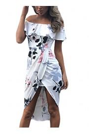 AlvaQ Women Summer Floral Print Off The Shoulder Split Bodycon Midi Dress - O meu olhar - $40.99  ~ 35.21€