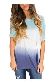 AlvaQ Women Summer Short Sleeve Tie Dye T-Shirt Tops Blouses S-2XL - O meu olhar - $9.99  ~ 8.58€