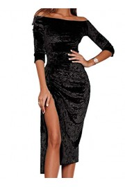 AlvaQ Women Velvet Off Shoulder Ruched Side Slit Bodycon Midi Dress - O meu olhar - $18.99  ~ 16.31€