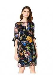Amazon Brand - Truth & Fable Women's Knee Length Chiffon A-Line Dress With Tie Sleeves - Il mio sguardo - $50.72  ~ 43.56€
