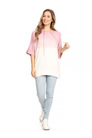 Anna-Kaci Ombre Tie Dye 3/4 Sleeve Loose Fit Drawstring Casual Tunic Hoodie T-Shirt - My look - $39.99