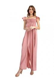 Anna-Kaci Ruffled Cap Sleeve Smocked Ruche Bodice Front Slit Maxi Long Beach Vacation Dress - My look - $39.99
