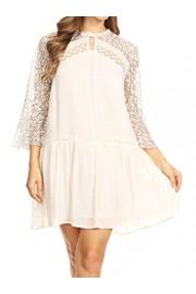 Anna-Kaci Womens A-line Flowy 3/4 Bell Sleeve Semi Sheer Lace Crochet Oversized Swing Mini Dress - My look - $39.99