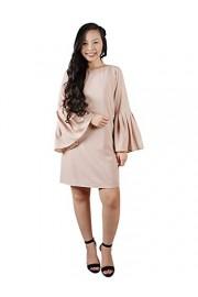 Anna-Kaci Women's Casual Bell Sleeve Crew Neck Keyhole Back Tunic Blouse Mini Shift Dresss - My look - $42.99